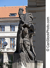Sculpture of Rabbi Yehuda Loew at New City Hall in Prague