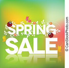 Spring sale poster design Beautiful colorful illustration,...
