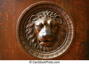 Lion wooden relief, decoration for building