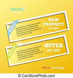 Two White Banners on Yellow Wall Vector design Technology