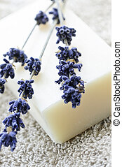 Lavender soap - Bar of natural aromatherapy soap with dried...