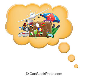 Vector of Cruise Vacation Dream - A cartoon woman dreams about a ...