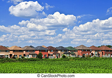 Neighborhood houses - Row of residential houses in suburban...