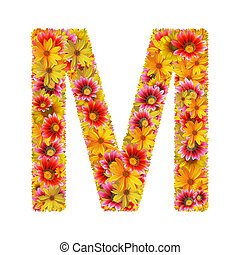flowers letter M - Letter M created of flowers isolated on...