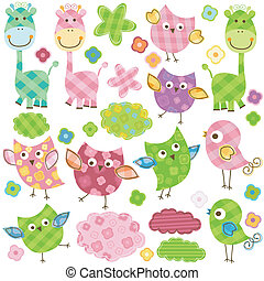cute birds & giraffes - cute happy birds & giraffes set for...