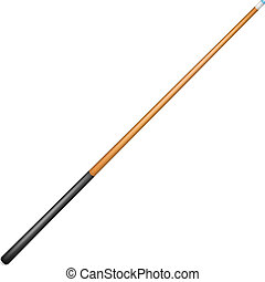 Billiard cue in retro design on white background