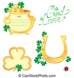 Set of Frames for Saint Patricks day design with shamrock,...