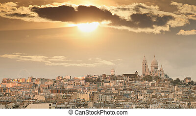 Montmartre Hill in Paris with Sacred Heart Cathedral.