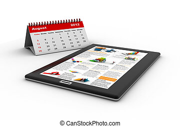 Black tablet pc on white background