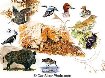 scene chasse - aquarelle originale animali?re