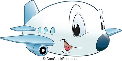 Cartoon Airplane - Vector illustration of a cute cartoon...