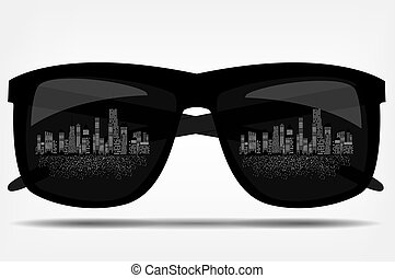 Sunglasses with the city in the background vector...