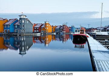 Reitdiephaven in Groningen - boats at marina in Groningen,...
