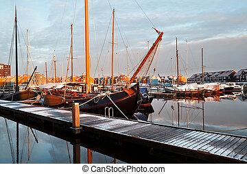navio, iates, Ostentação, marina, Groningen