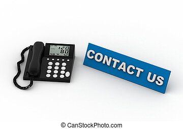 Contact us. phone on white isolated