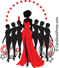 Women group graphic silhouettes. Different person in red