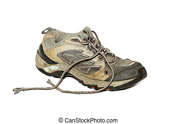Old running shoe - Old dirty running shoe isolated over...