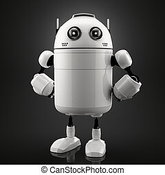 Single standing robot Black background