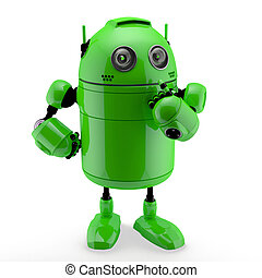 Side view of a thinking Android Isolated against a white...
