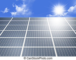 Solar Panel - Blue solar panel system produces alternative...