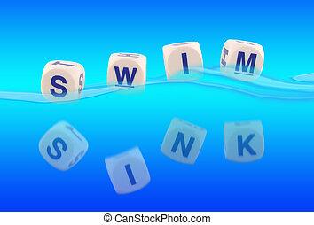 Sink Or Swim - Sink or Swim written in blocks in the water