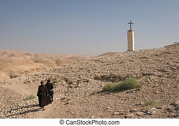 Monks in Judea desert, Israel