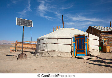 Yurt in Mongolia, old and new, traditional and mod