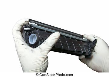hands repairing laser toner cartridge - laser toner...