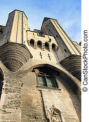 The entrance to The Popes' Palace in Avignon, France - The...