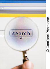 magnifying glass - Magnifying glass on top of search icon of...