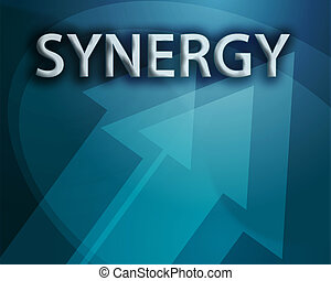 Synergy illustration, abstract management success concept...