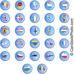 Vector buttons with flags of the st