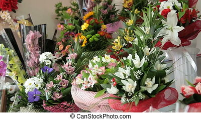 Flower Shop Interior - Fresh Flower Arrangements In Florist...