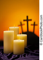 Three crosses candles of hope - Three crosses symbolic for...