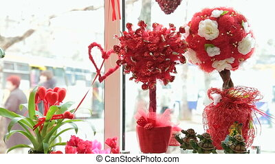 Valentines Day Window Display Decoration In Florist Shop -...