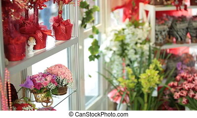 Shopping In Flower Shop - Man with bunch of flowers coming...