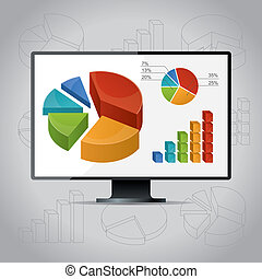 Charts On Monitor - Vector illustration with charts,...