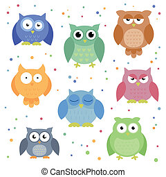 Colorful Vector Owls