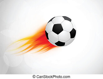 Soccer ball with flame Abstract bright illustration