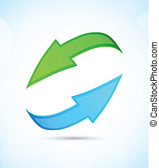 Two arrows - Green and blue arrows on blue background