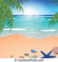 Vector Beach Background - Vector Illustration of an Azure...