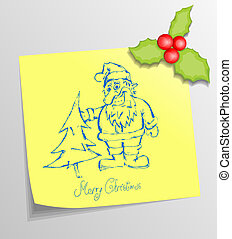 Christmas Sticky Note with Santa
