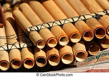 manta, nativo, cacerola, Flautas