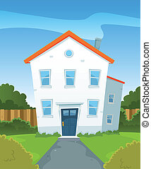 Spring House In Garden - Illustration of a cartoon suburban...