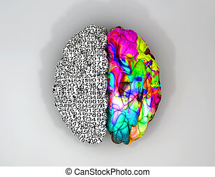 Left And Right Brain Concept Top - A typical brain with the...