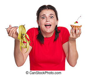 Crazy woman - Crazy greedy girl with cake isolated on white...