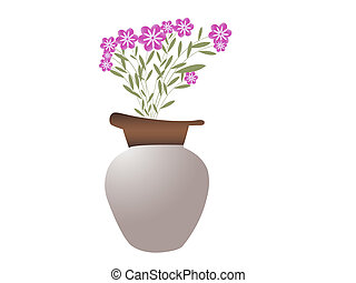 pot with beautiful  flowers on white background
