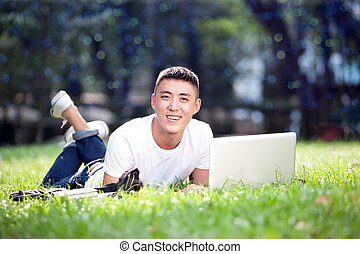Young handsome asian student - Portrait of young handsome...