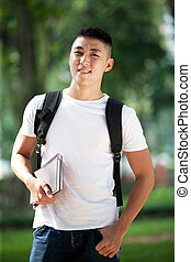 Young handsome asian student - Asian handsome young student...