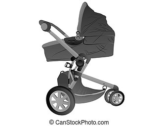 baby perambulator on white background